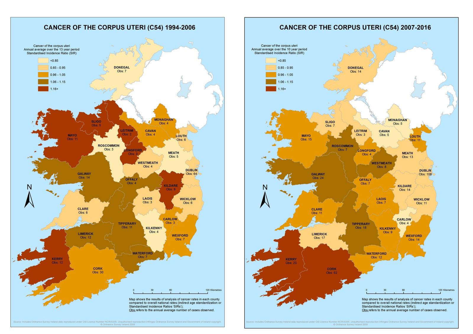 Corpus uteri 1994-2006 & 2007-2016 annual average