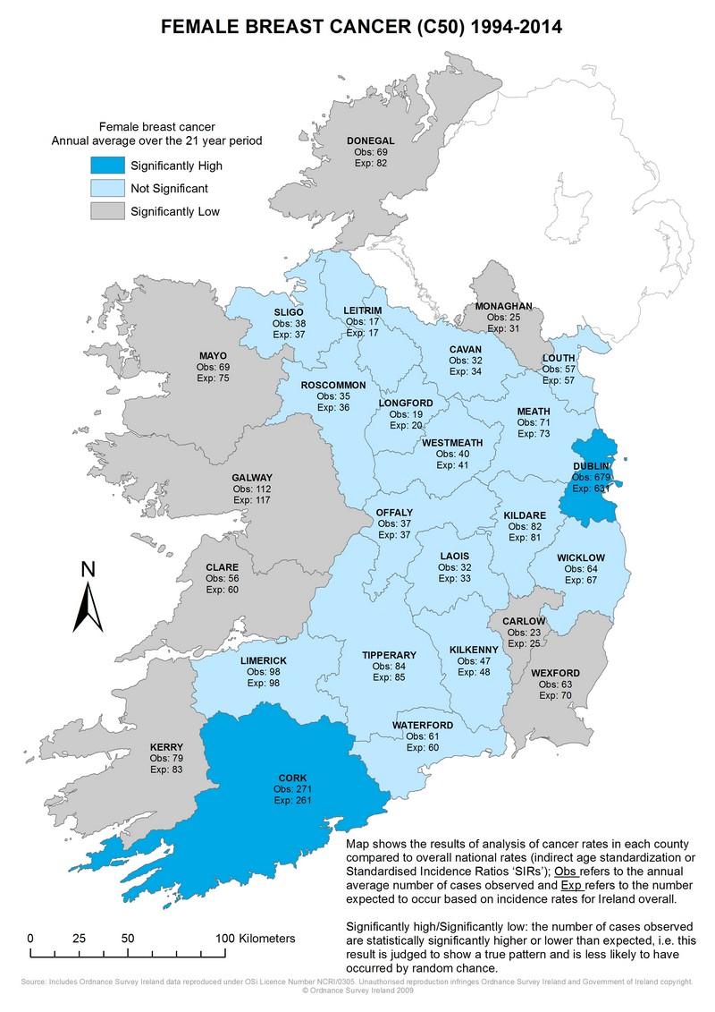 Female breast 1994-2014 annual average