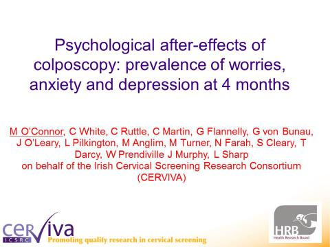 Image for Psychological after-effects of colposcopy: prevalence of worries, anxiety and depression at 4 months