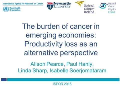 Image for The burden of cancer in emerging economies: Productivity loss as an alternative perspective