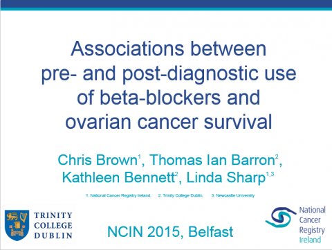 Image for Associations between pre- and post-diagnostic use of beta-blockers and ovarian cancer survival