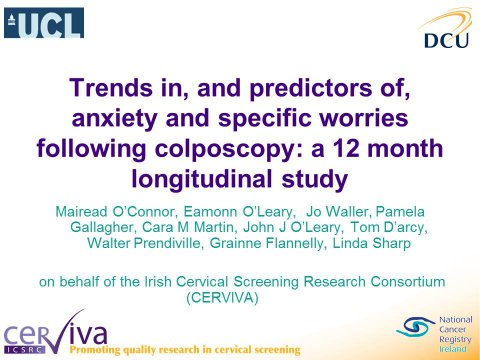 Image for Trends in, and predictors of, anxiety and specific worries following colposcopy: a 12 month longitudinal study