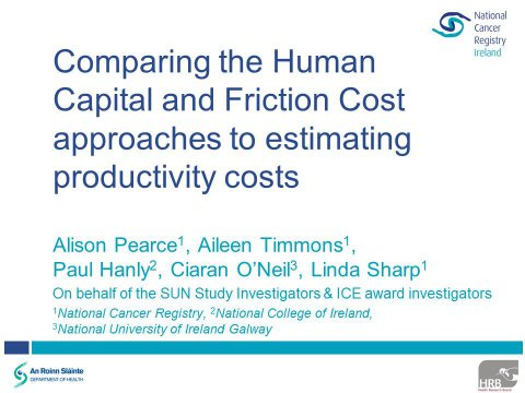 Image for A comparison of the Human Capital and Friction Cost approaches to estimating the productivity costs associated with head and neck cancer