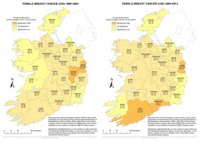 Female breast 1994-2003 & 2004-2013 annual average