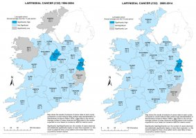 Laryngeal 1994-2004 & 2005-2014 annual average