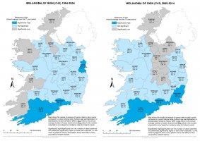 Melanoma of skin 1994-2004 & 2005-2014 annual average