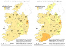 Mouth and pharynx 1994-2003 & 2004-2013 annual average