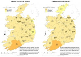 Ovary 1994-2003 & 2004-2013 annual average